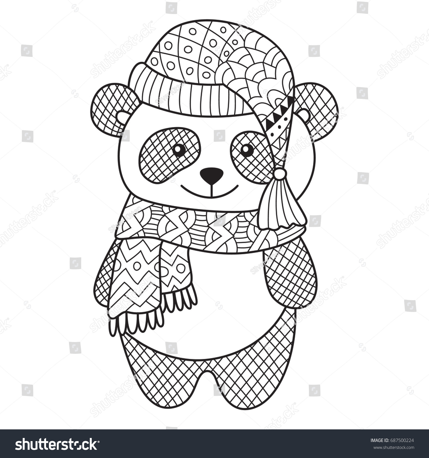 Doodle Coloring Book Page Funny Panda Stock Vector 687500224 ...