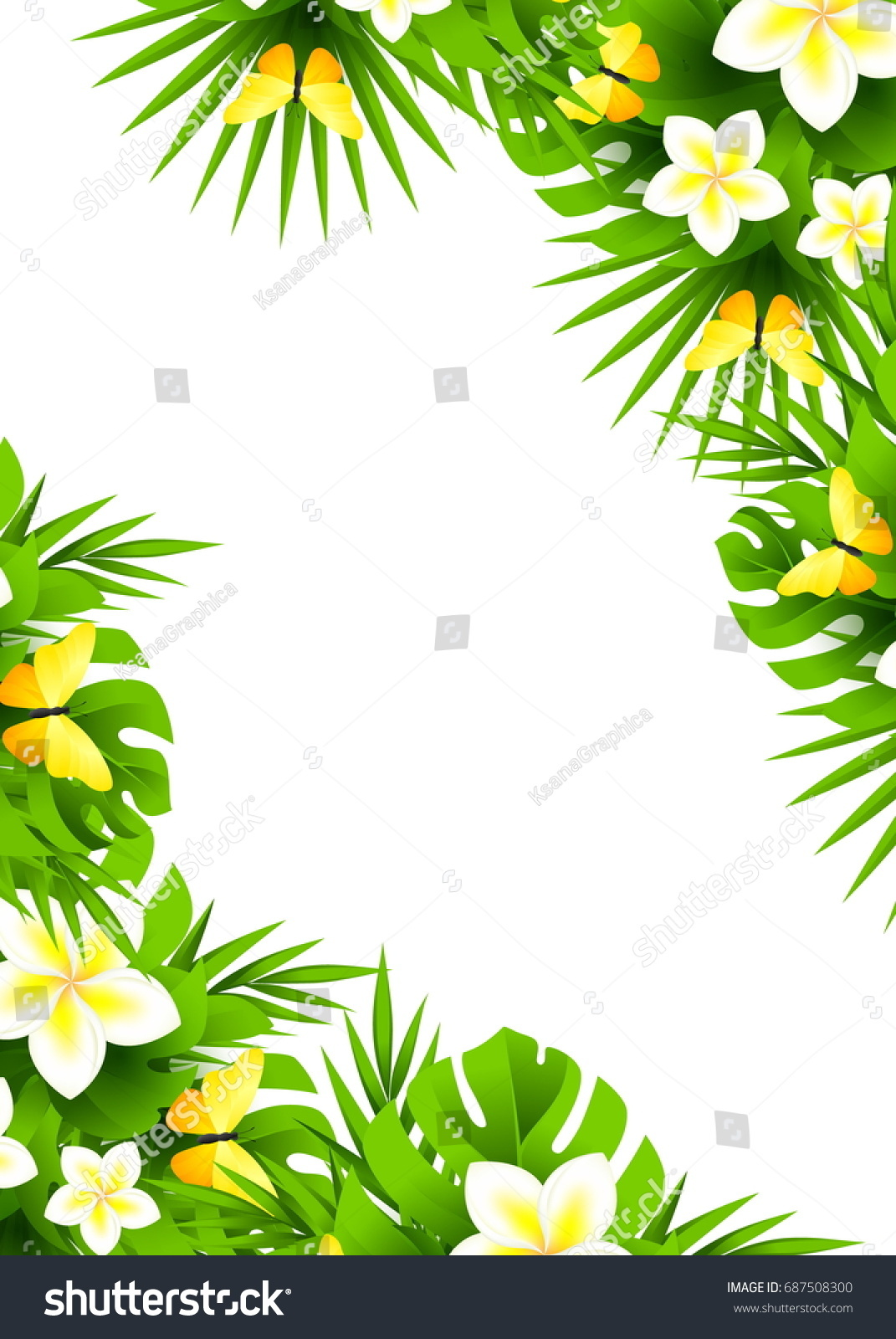Tropical Hawaiian Background Jungle Palm Tree Stock Illustration