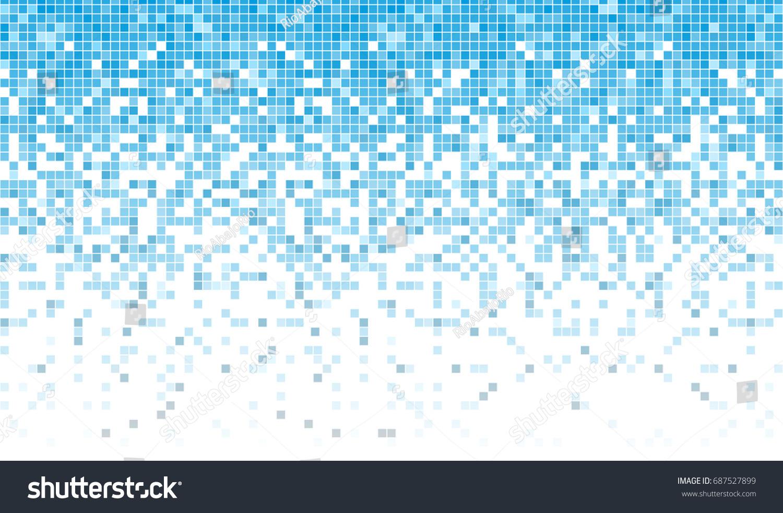 Fading Pixel Pattern Blue White Pixel Stock Vector