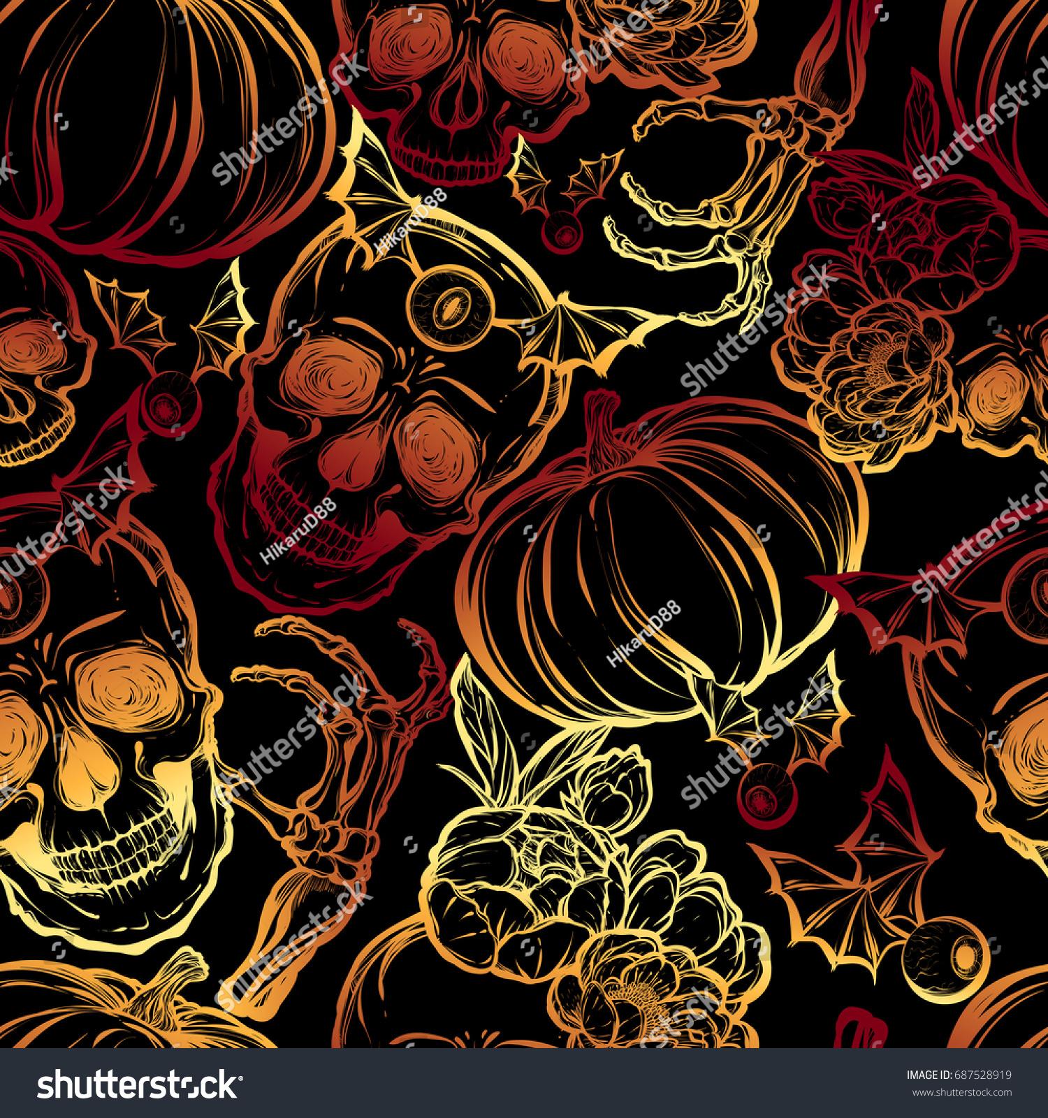 halloween vector illustration skull leavespeony pumpkin stock vector