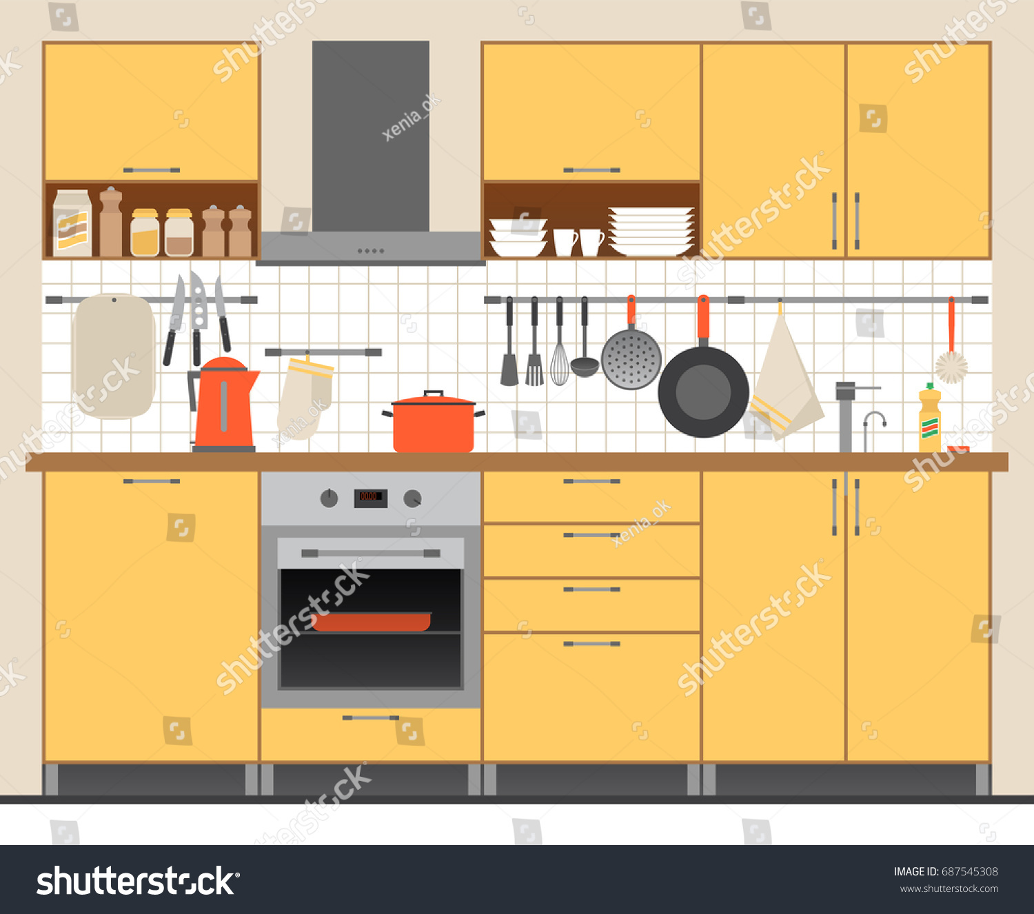 Illustration Modern Kitchen Set Modular Furniture Stock Vector