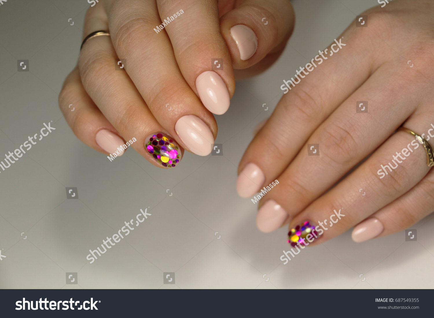 Tender Design Manicure Short Nails Stock Photo (Royalty Free ...
