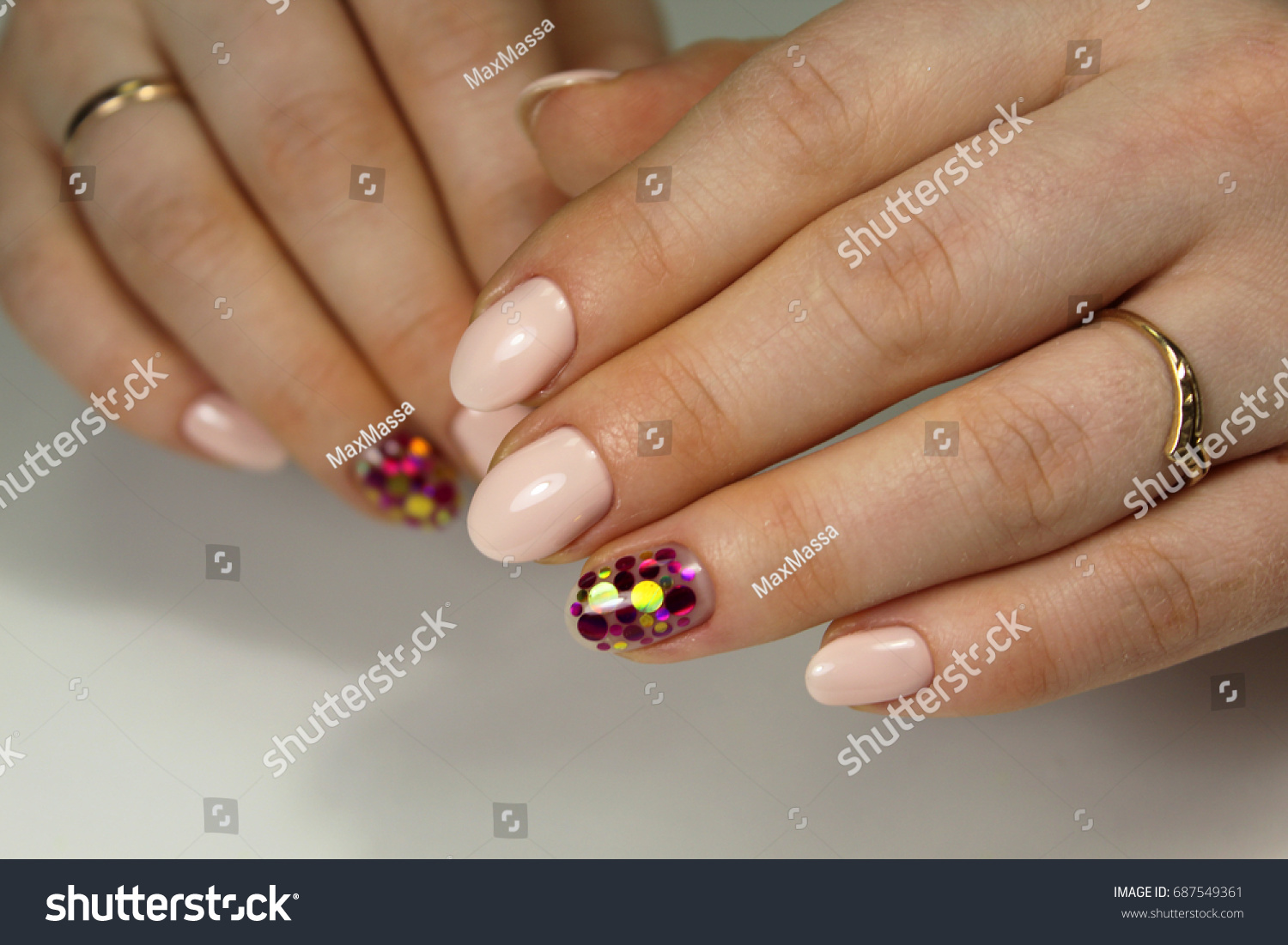 Nail Design Short Nails Stock Photo 687549361 - Shutterstock