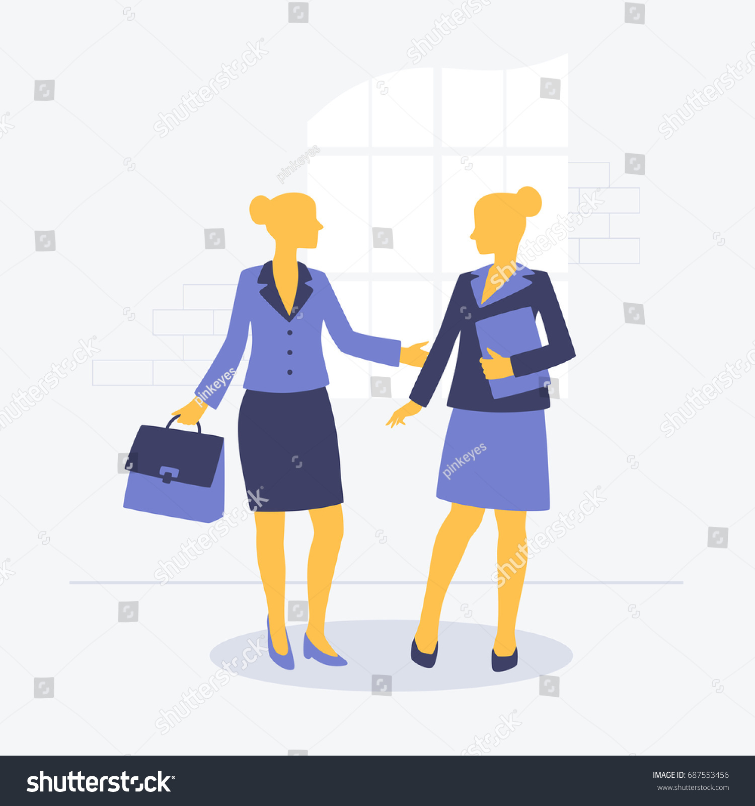 Image result for a women shaking hands at a interview cartoon