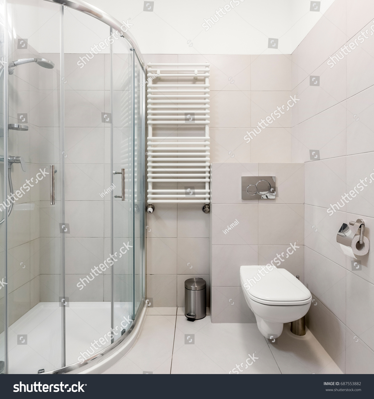 White Gray Simple Bathroom Shower Toilet Stock Photo 687553882