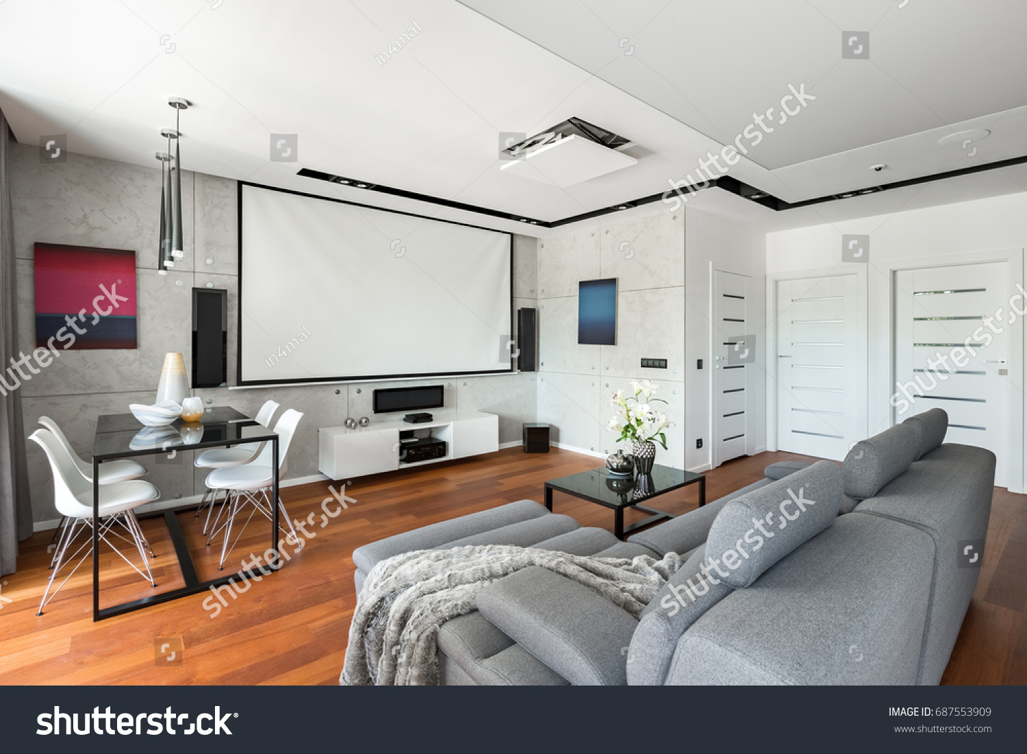 Modern Movie Room Projector Screen Gray Stock Photo (Edit Now ...