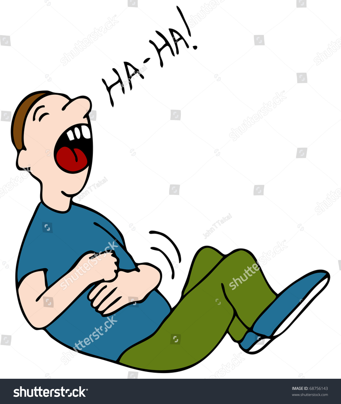 Cartoon Characters Laughing Hysterically : Image laugh hysterically while hold his stock illustration