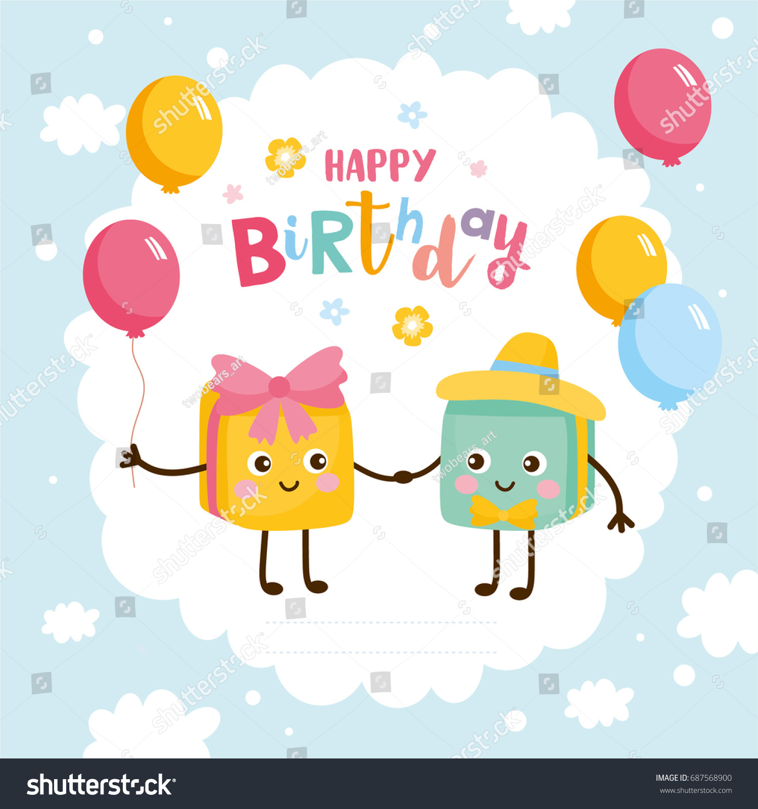 Happy Birthday Greeting Card Kids Illustration Stock Vector