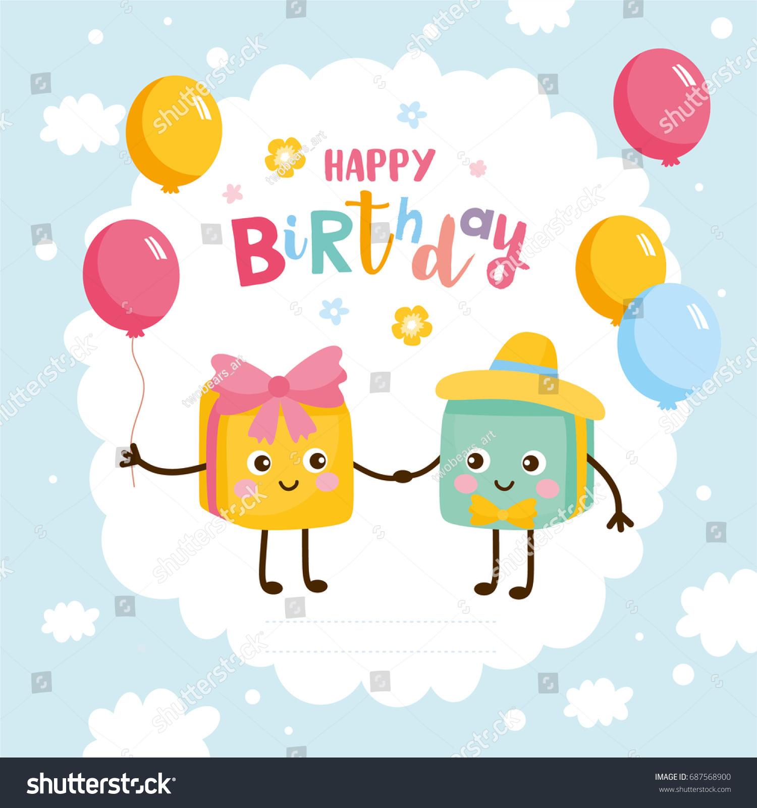 Happy Birthday Greeting Card Kids Illustration Stock Vector