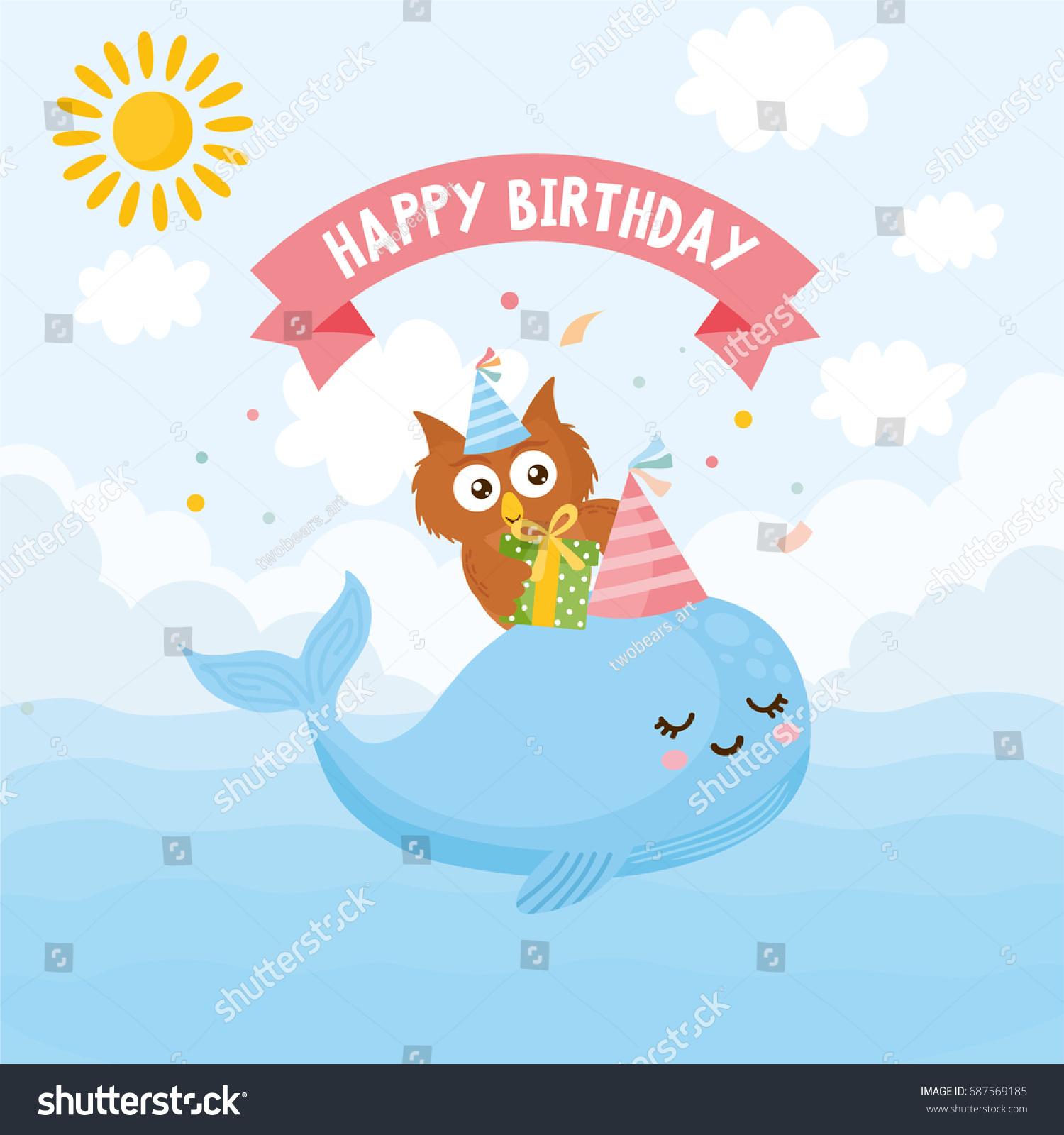 Happy Birthday Greeting Card Kids Illustration Stock Vector Royalty