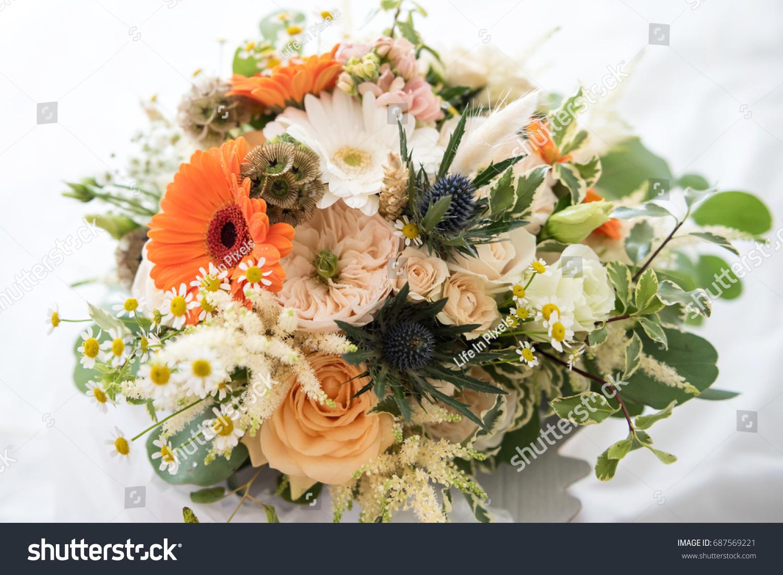 Beautiful Orange Peach Wedding Bouquet On Stock Photo Edit Now