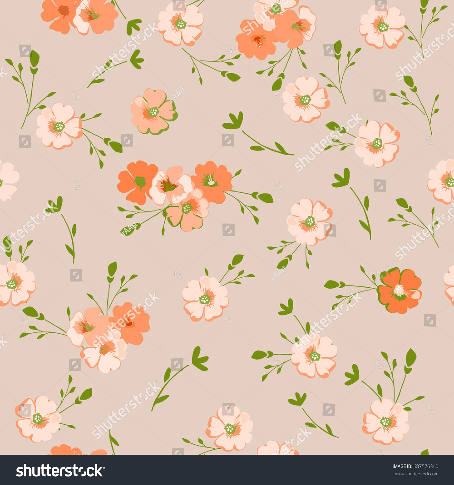 Vintage Floral Pattern Cute Flowers For Design Fabric Paper Wallpaper