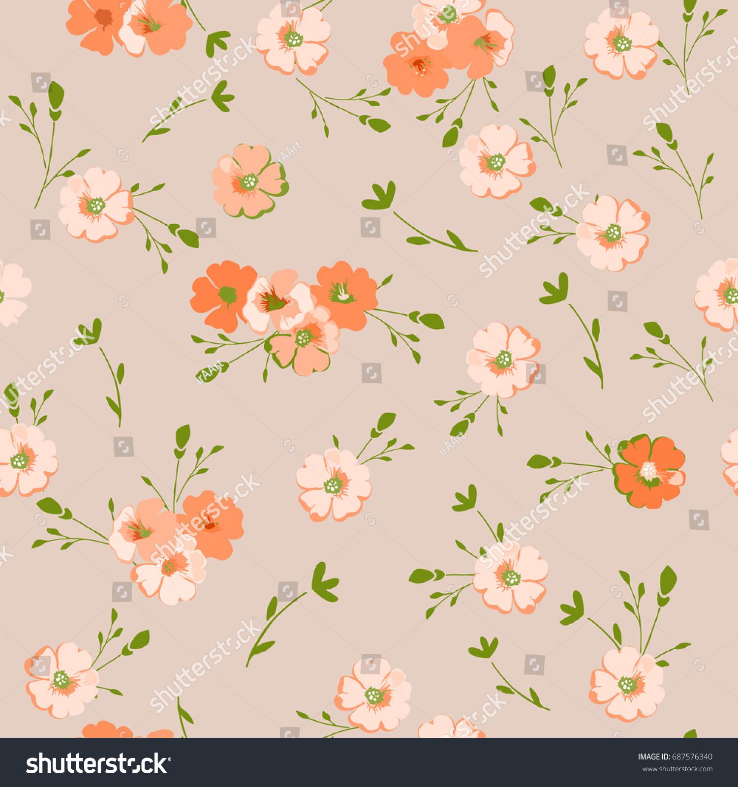 Vintage Floral Pattern Cute Flowers Design Stock Vector 687576340
