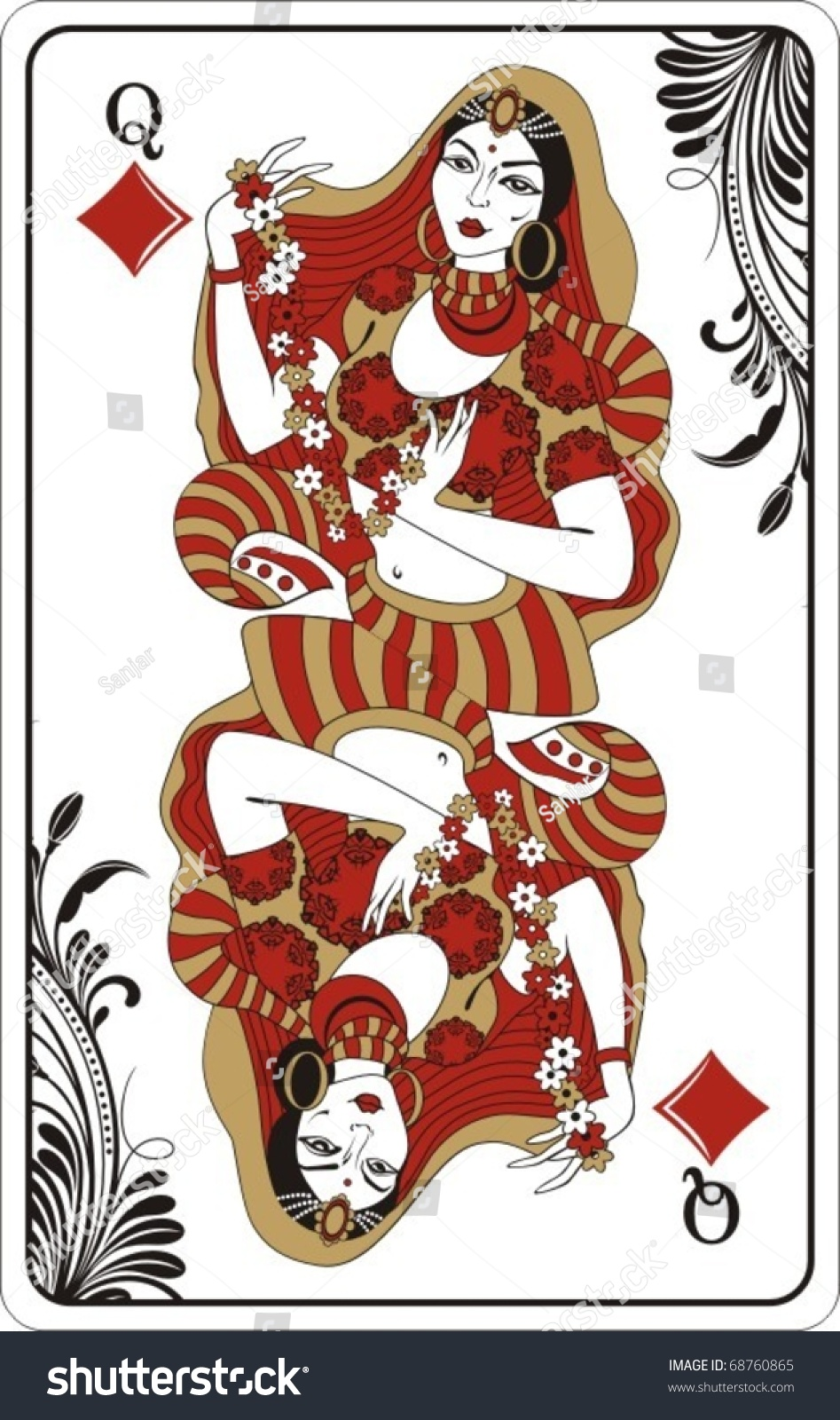 Queen Of Diamonds From Deck Of Playing Cards Rest Of Deck