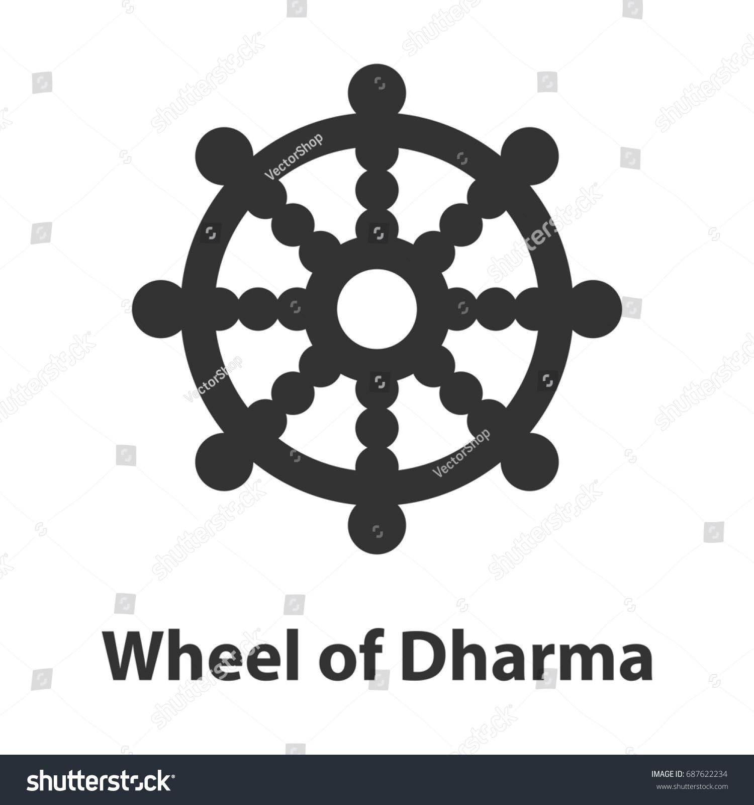 Icon Of Wheel Of Dharma Symbol Buddhism Religion Sign Ez Canvas