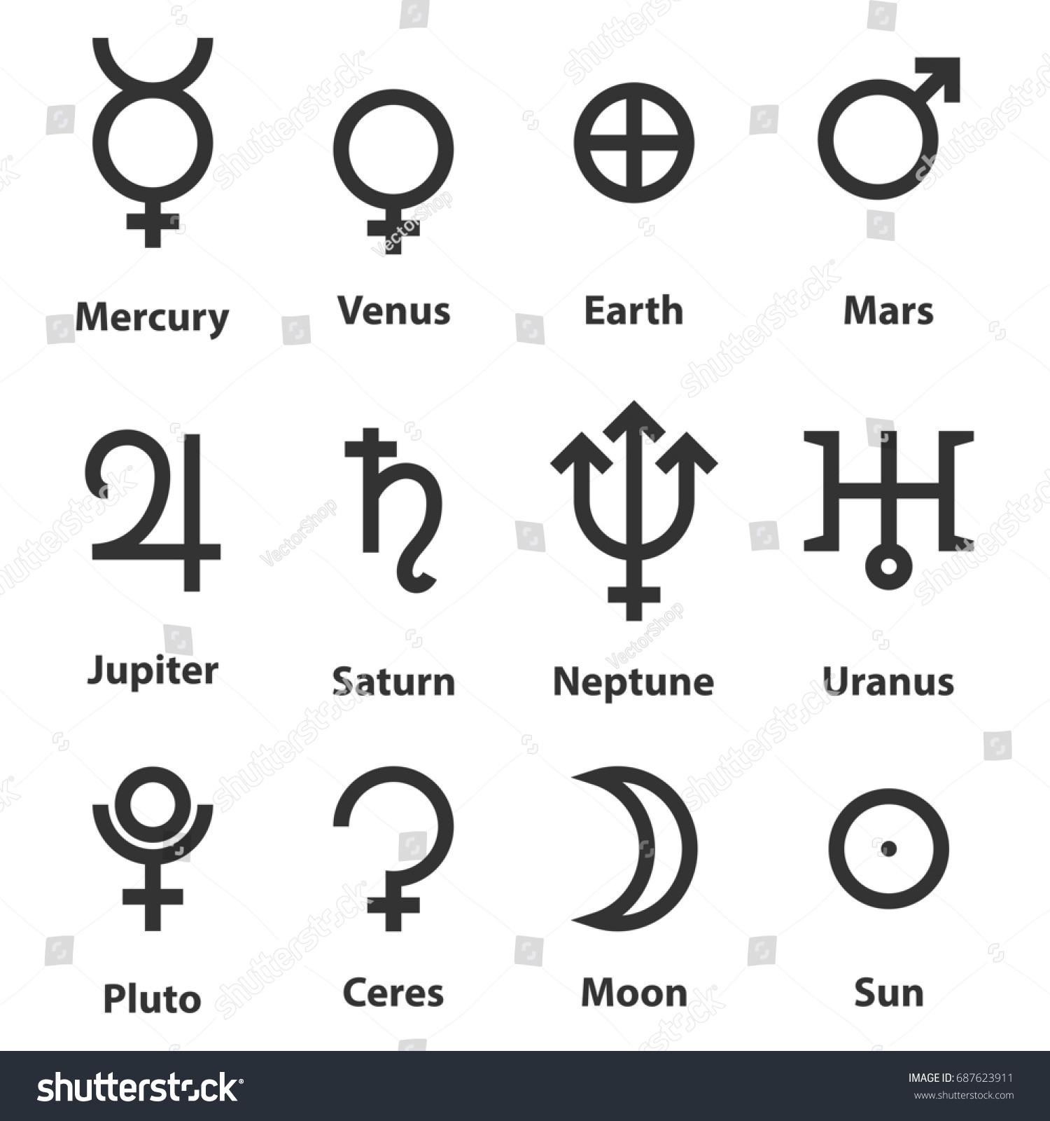 Zodiac Astrology Symbols Planets Stock Illustration 687623911