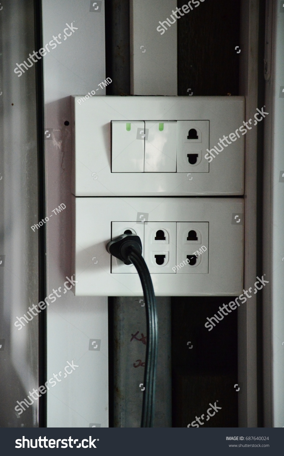 Switch Plug Electric Wire Home Stock Photo (Edit Now) 687640024 ...