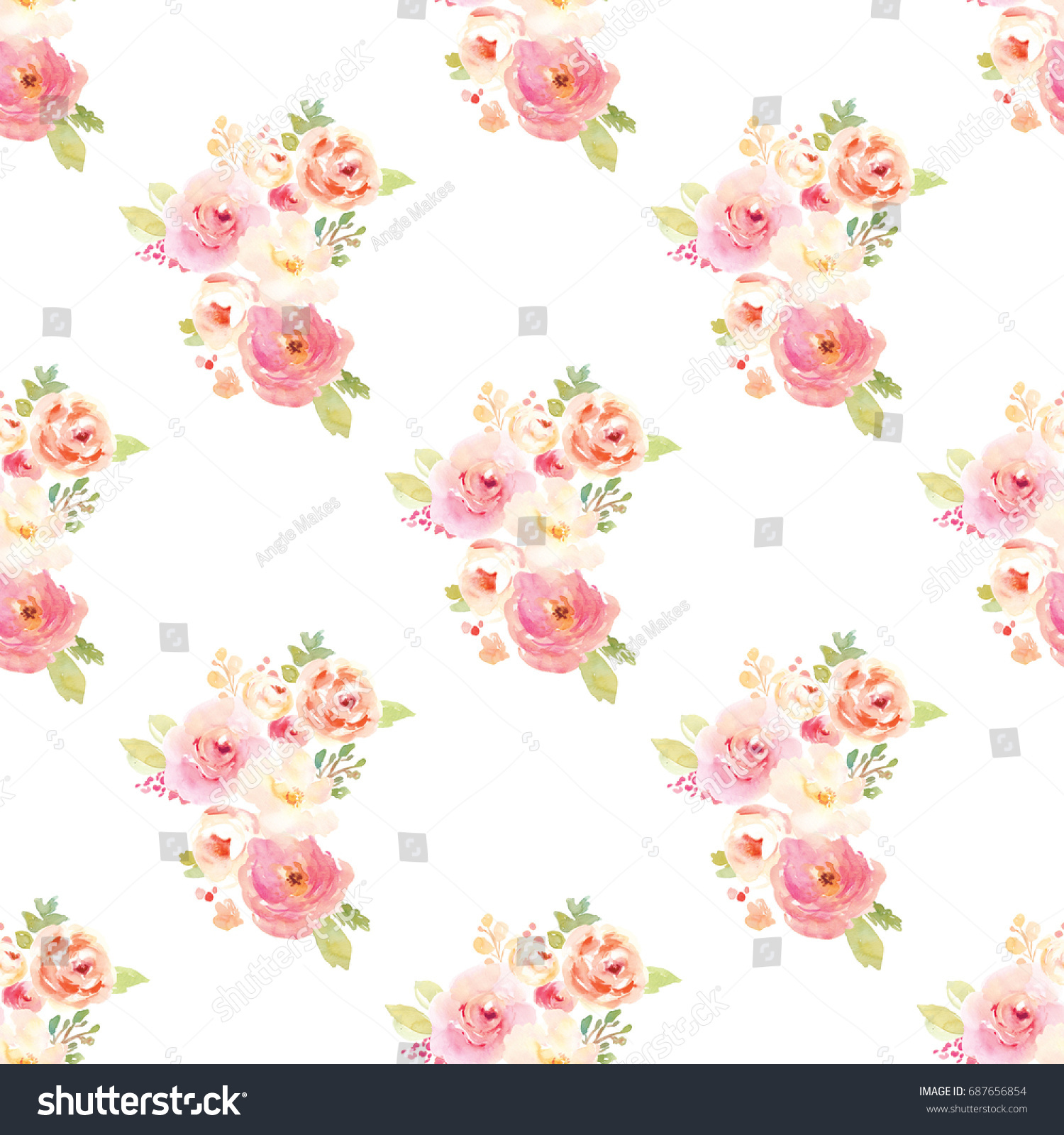 Cute Vintage Floral Wallpaper Pattern Watercolor Stock