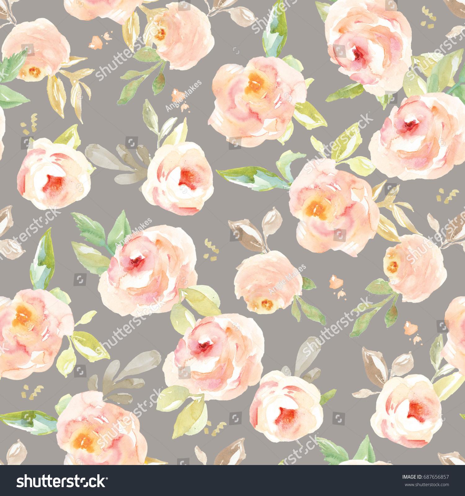 Cute Vintage Floral Wallpaper Background Pattern Stock