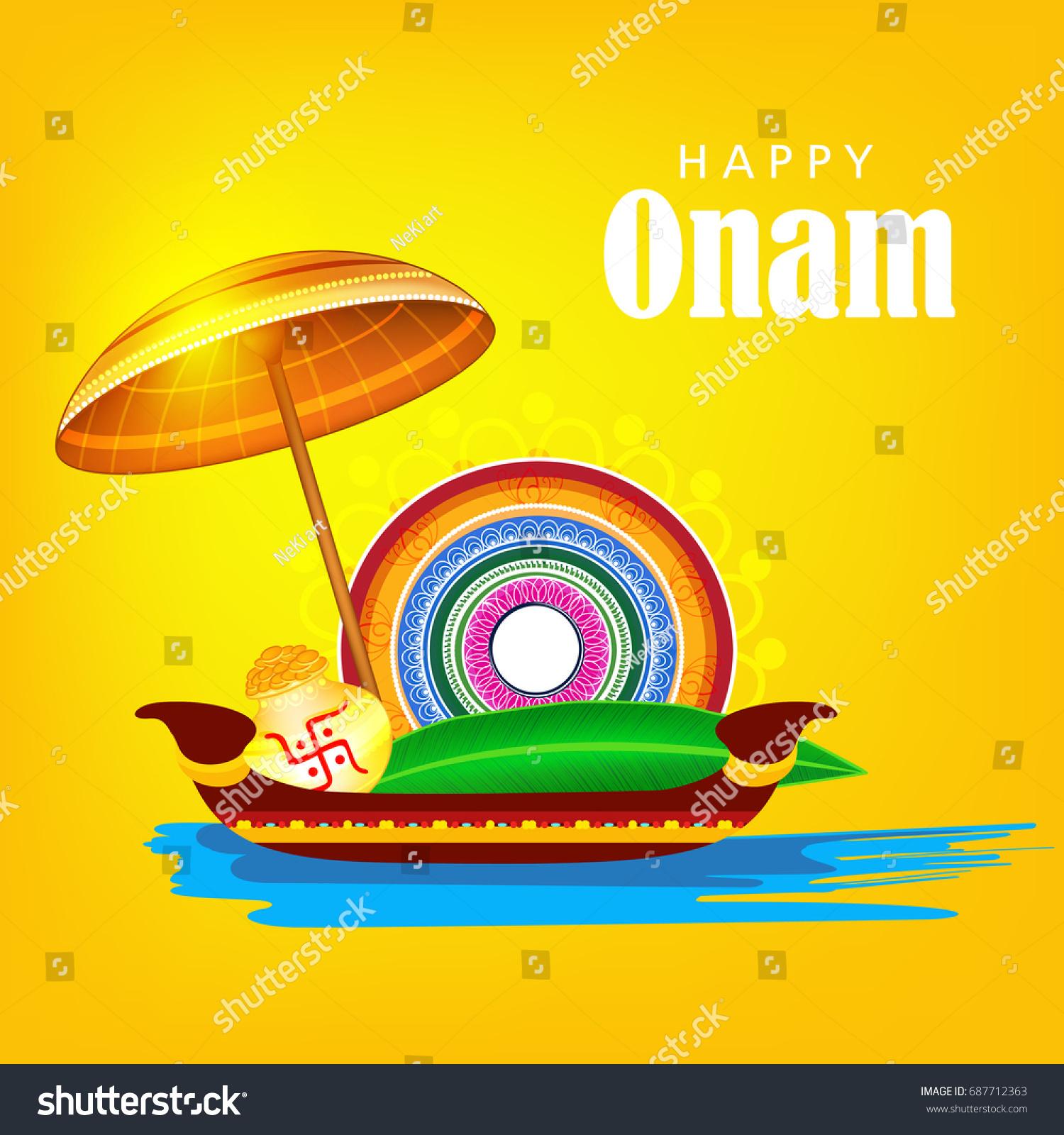 Onam Greeting Card Design On Shiny Stock Vector Royalty Free