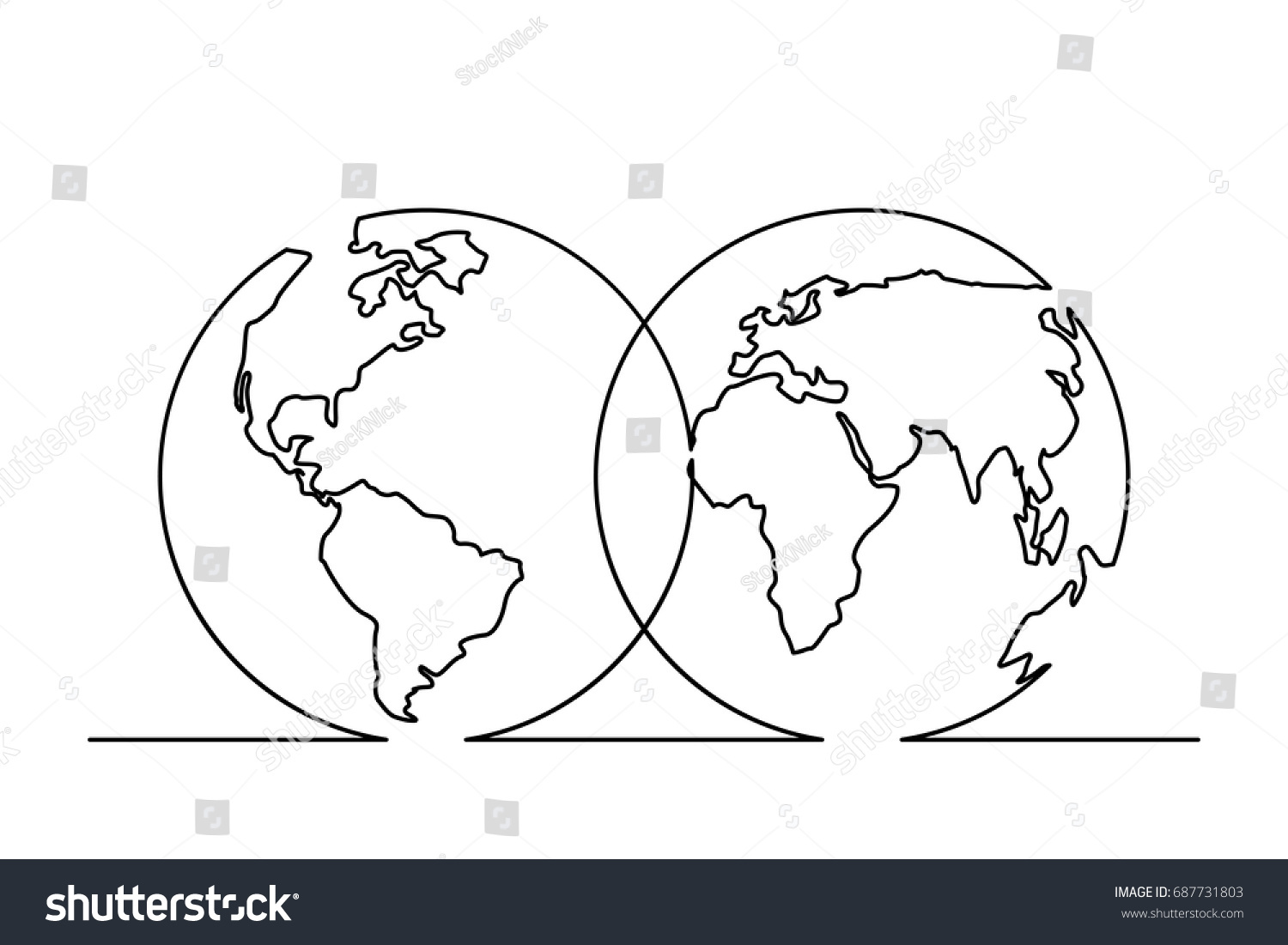Line Drawing World Map : Continuous line drawing world map hemispheres stock vector