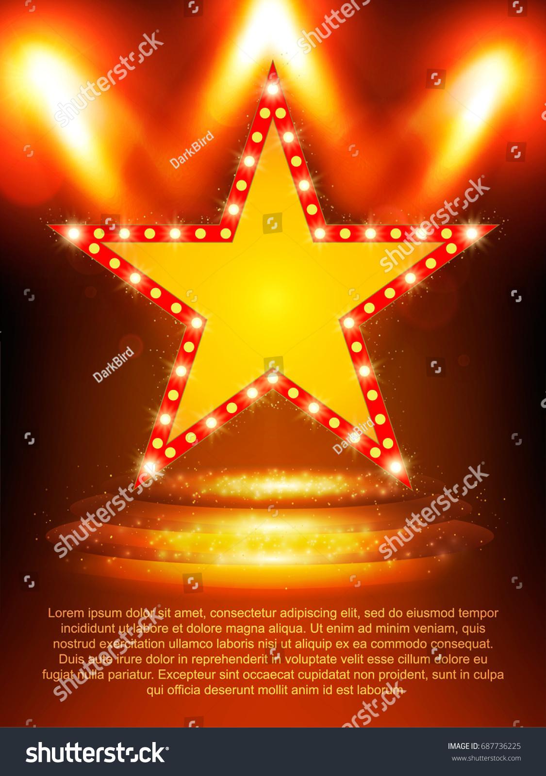 poster template star banner podium spotlights stock vector royalty