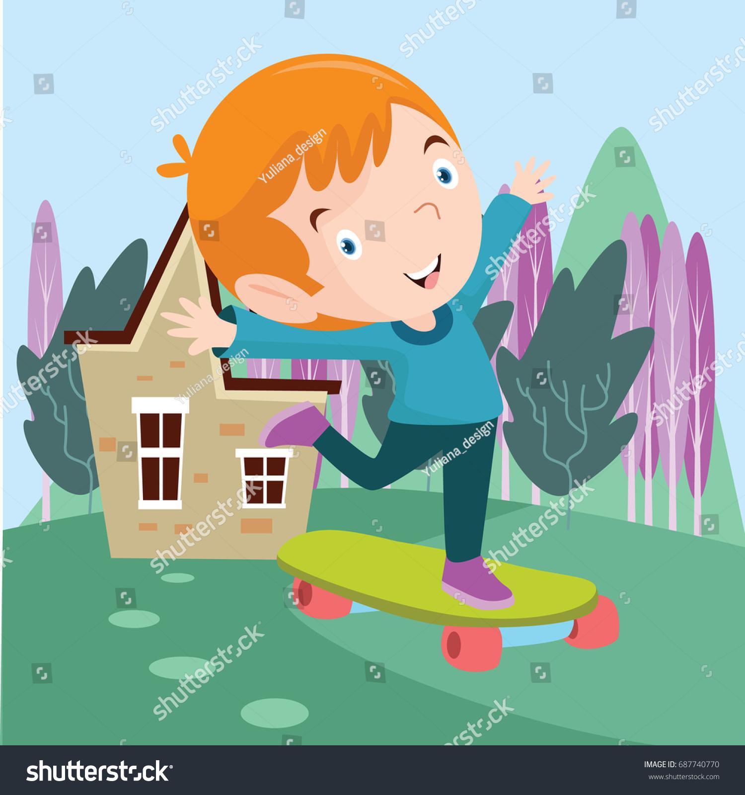 little cute boys play skate board stock vector 687740770