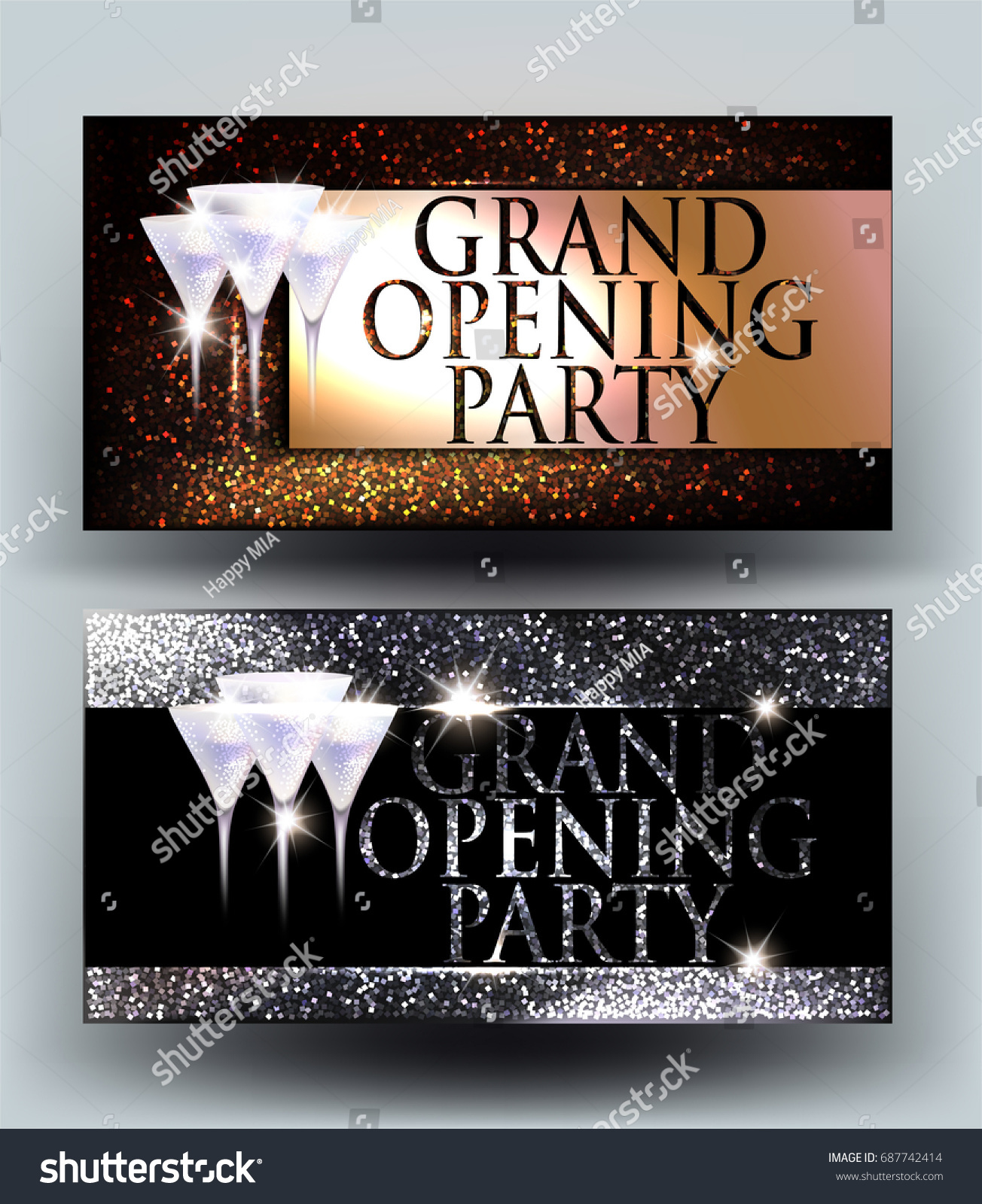 Grand Opening Sparkling Gold Silver Elegant Stock Vector HD (Royalty ...