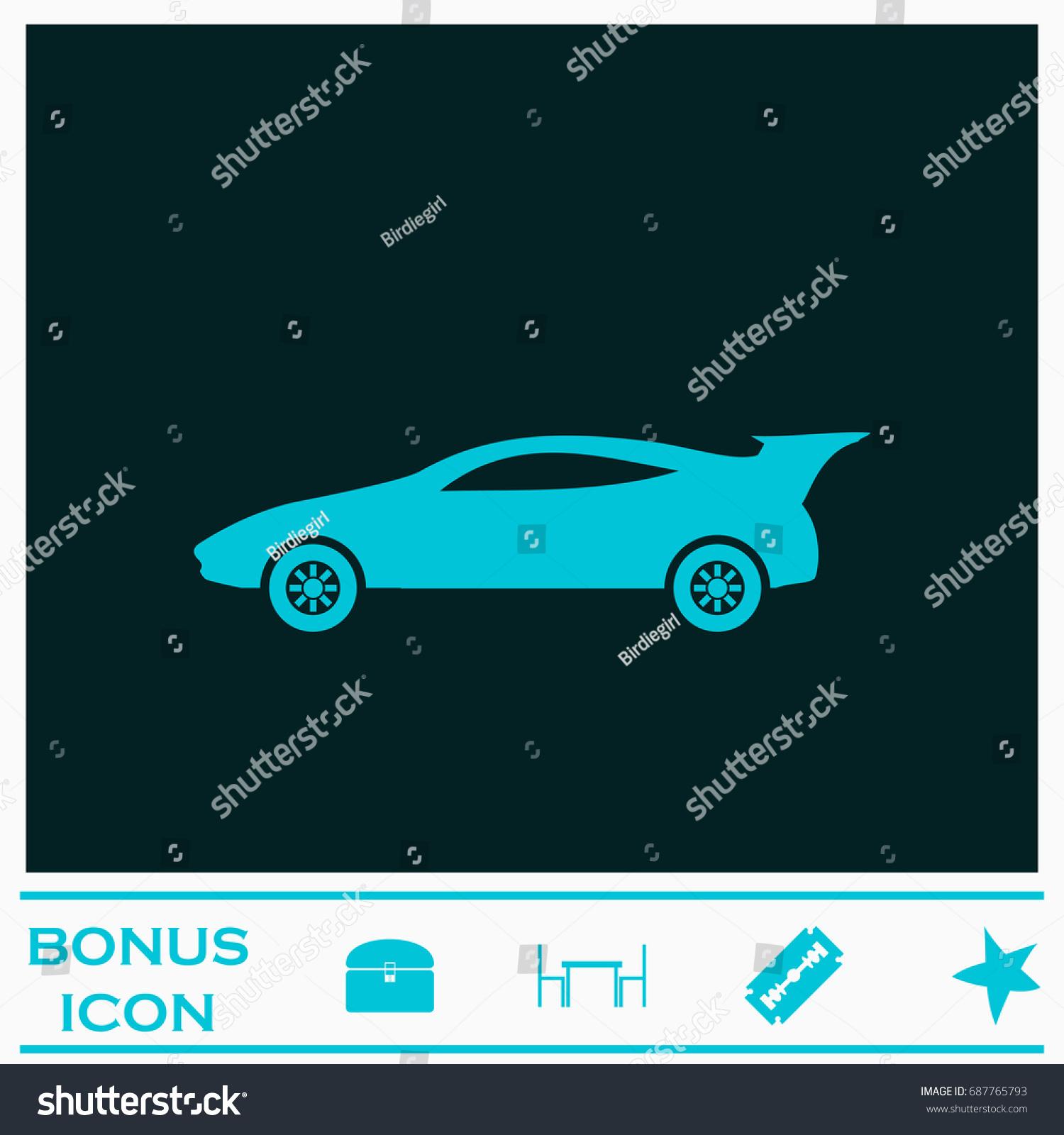 Sport Car Icon Flat Simple Blue Stock Illustration 687765793