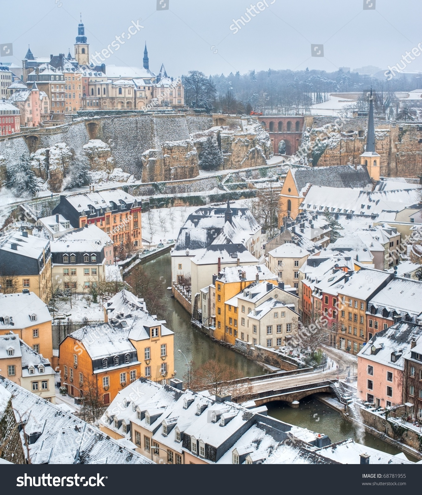 Luxembourg City Tour: Luxembourg Old Town Panorama On A White Winter Day Stock