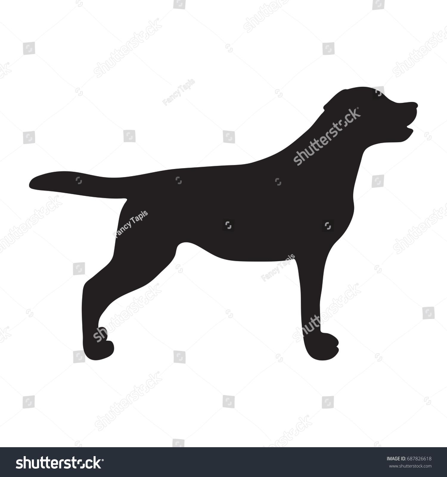 Dog Icon Labrador Silhouette Standing Vector Stock Vector Royalty