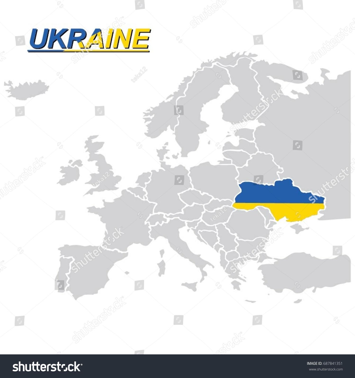 Ukraine On Map Of Europe.Eu Europe Map Ukraine Flag Vector Stock Vector Royalty Free