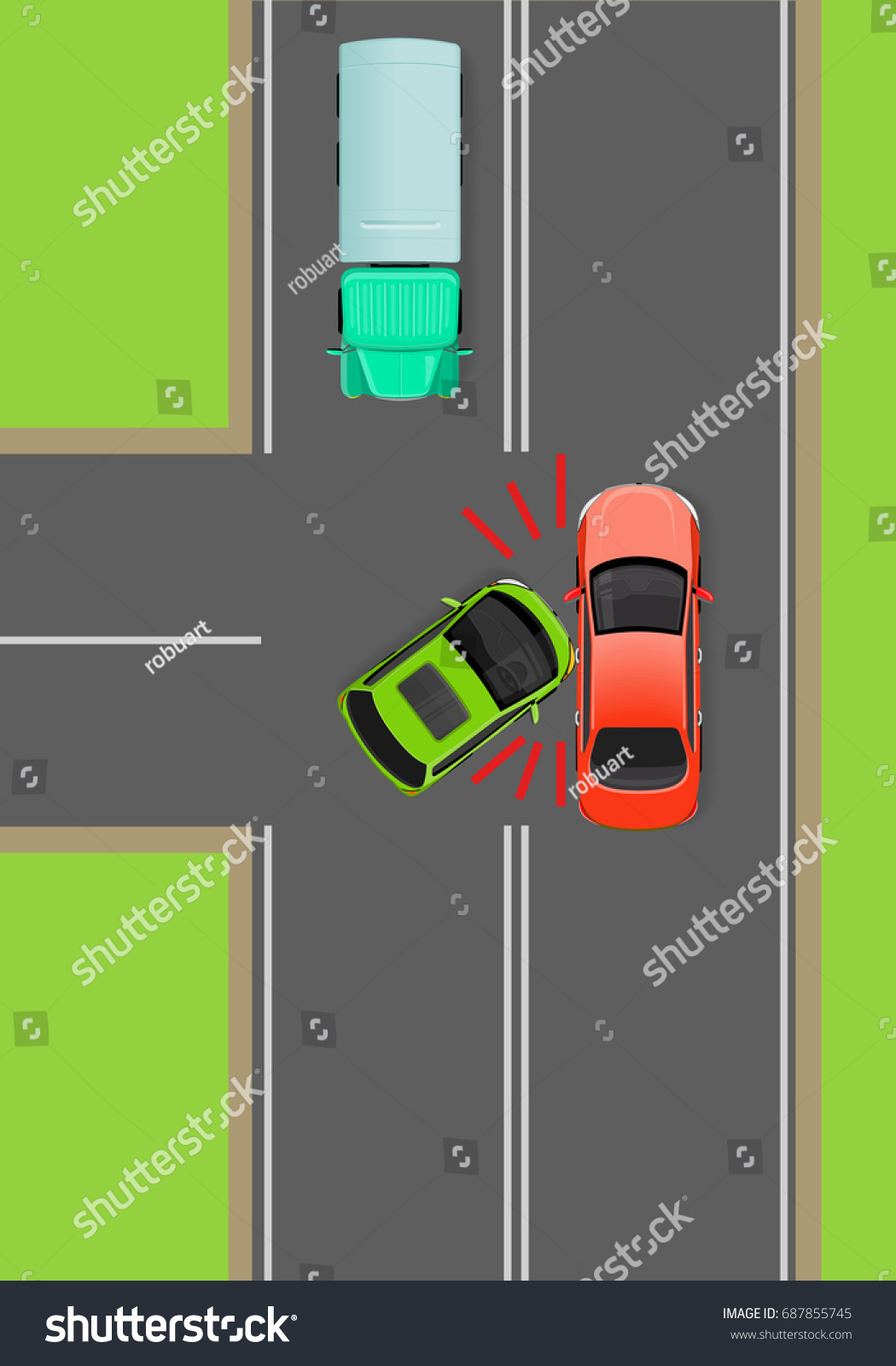 Clash Cars On Tjunction Flat Illustration Stock Illustration ...