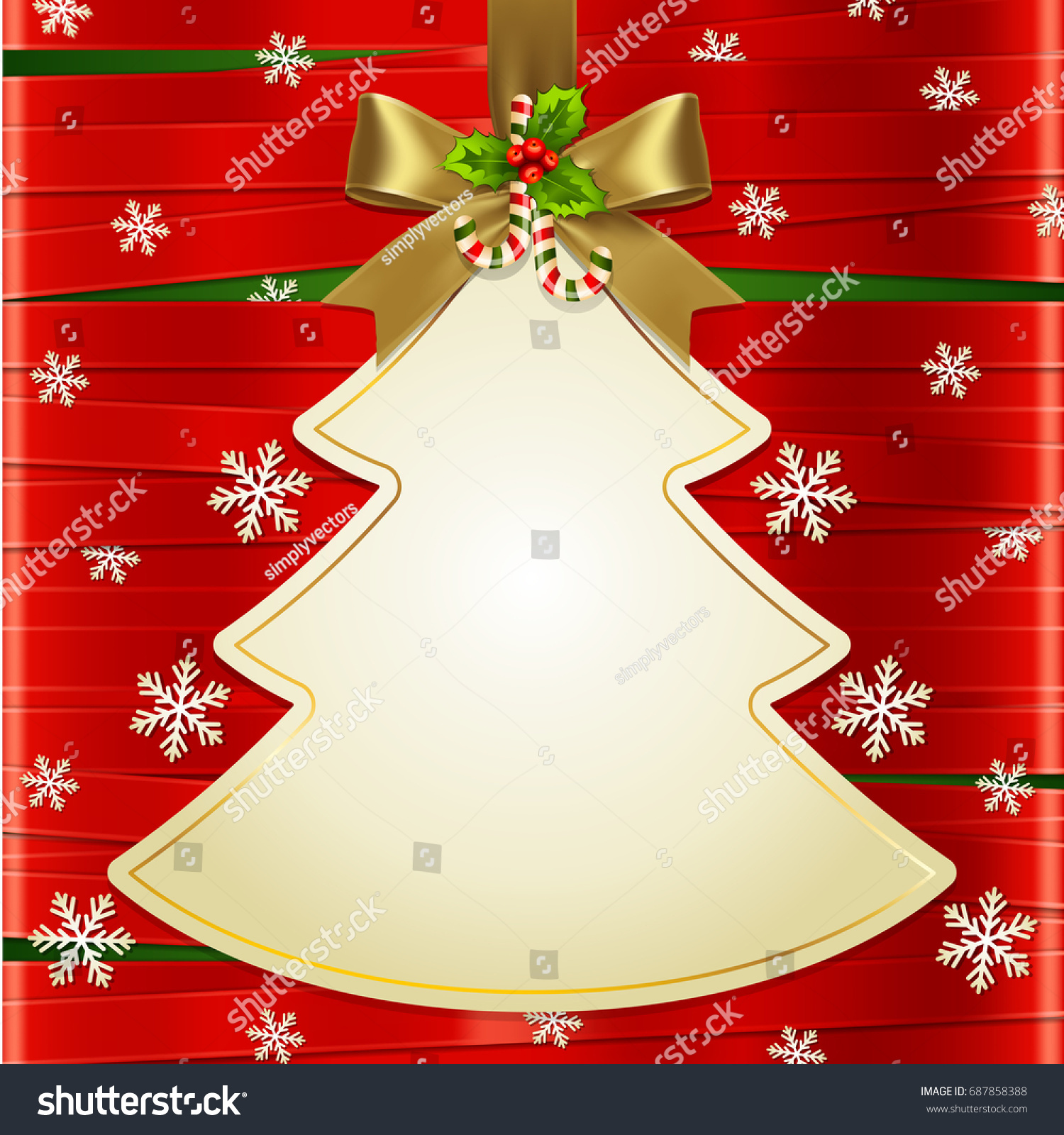 Christmas Tree With Red Ribbon: Gold Ribbon Bow Hanged Christmas Tree Stock Vector