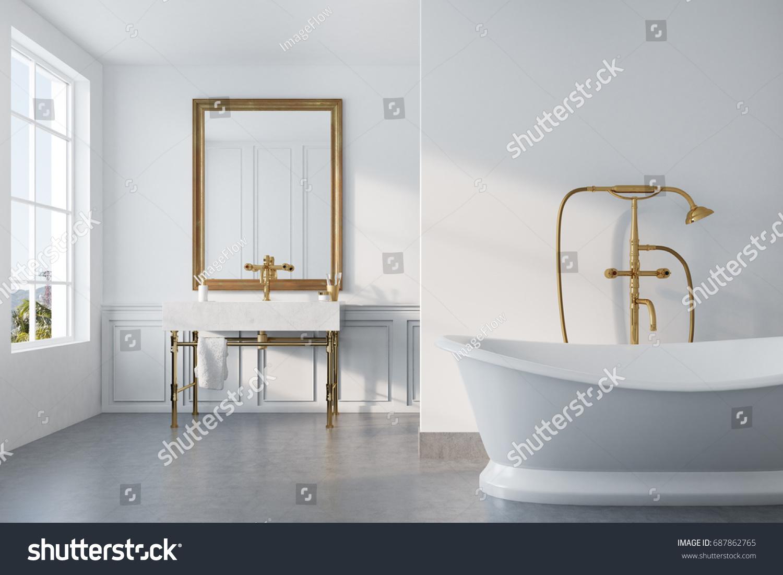 Vintage Bathroom Interior White Bathtub Gold Stock Illustration ...