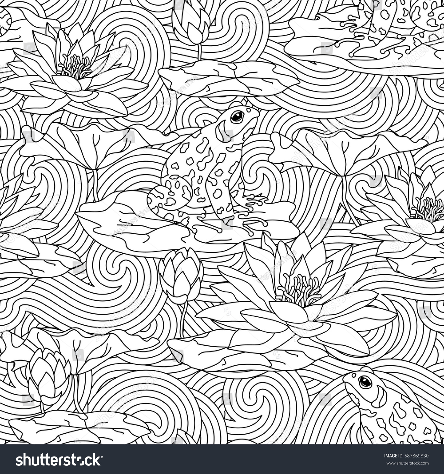 Lotus designs coloring book - Adult Antistress Coloring Page With Water Lily And The Frog Seamless Pattern Cards With