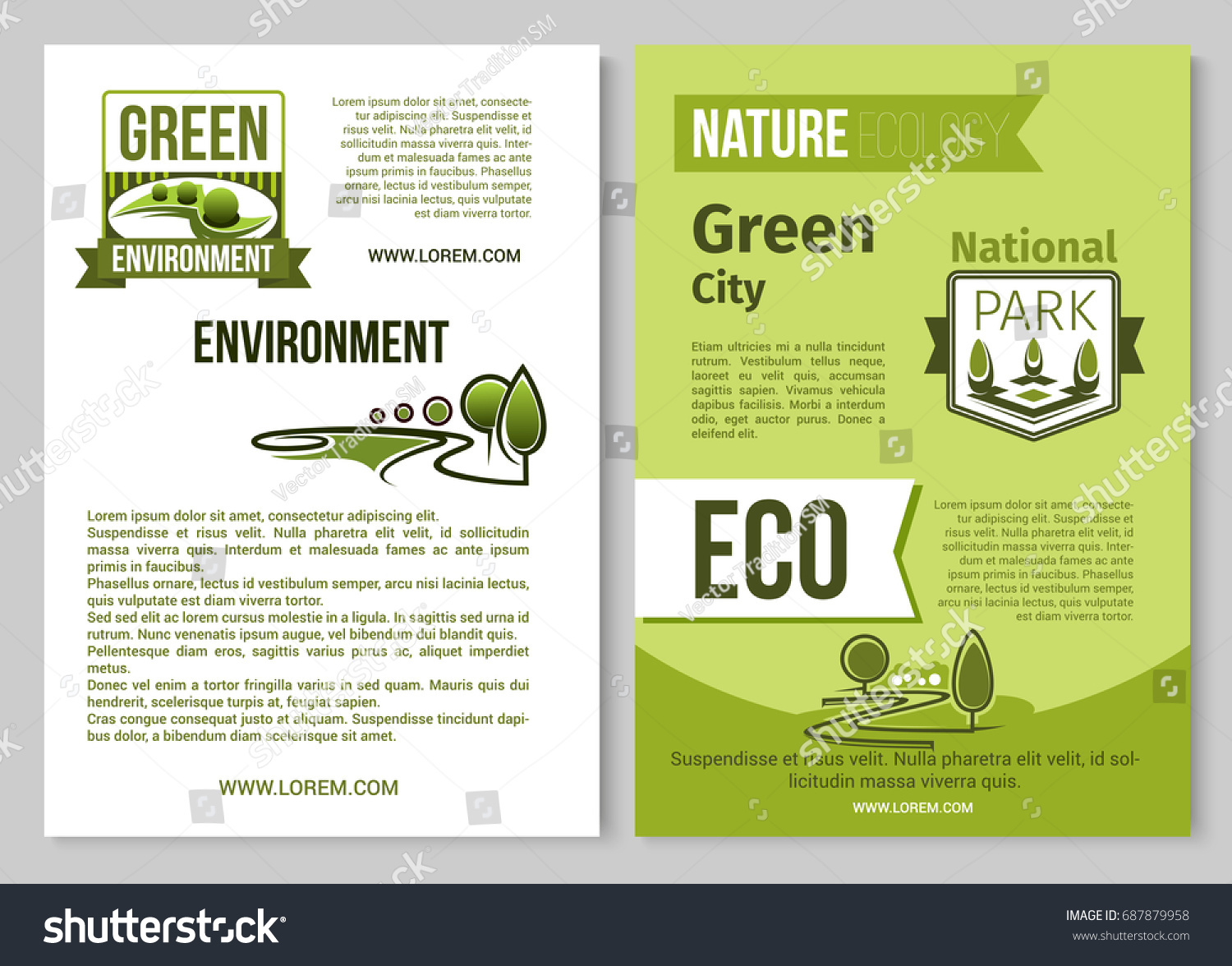 Nature ecology green environment posters brochure stock for Environment brochure template