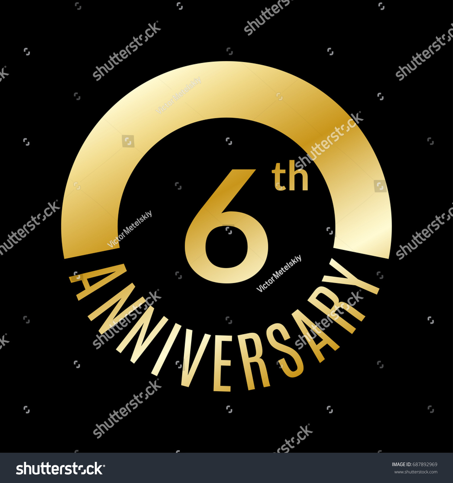 6 Year Anniversary Icon 6th Celebration Stock Vector Royalty Free
