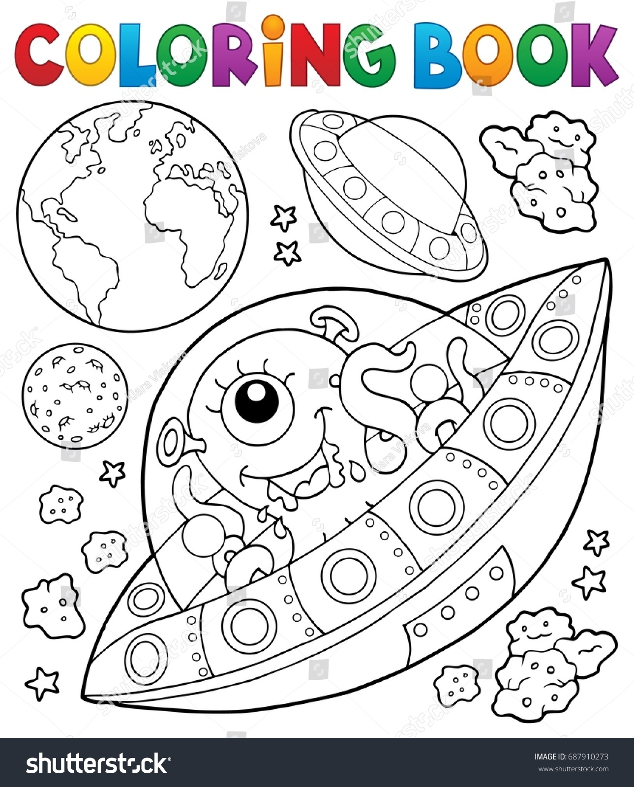 coloring book flying saucers near earth stock vector 687910273