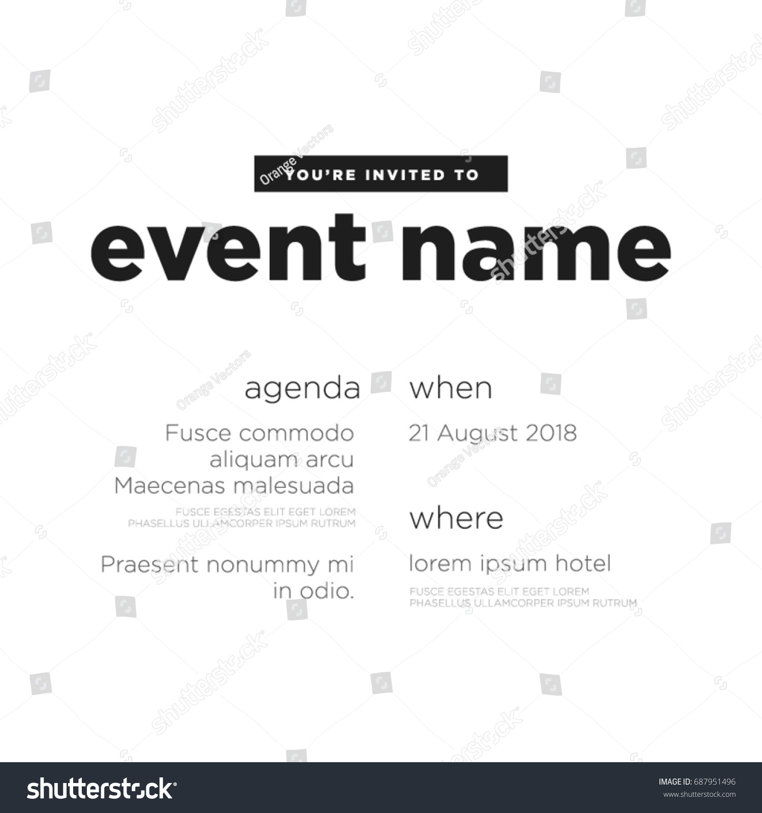 Event Invitation Template Agenda Venue Date Vector 687951496 – Event Invitation Template