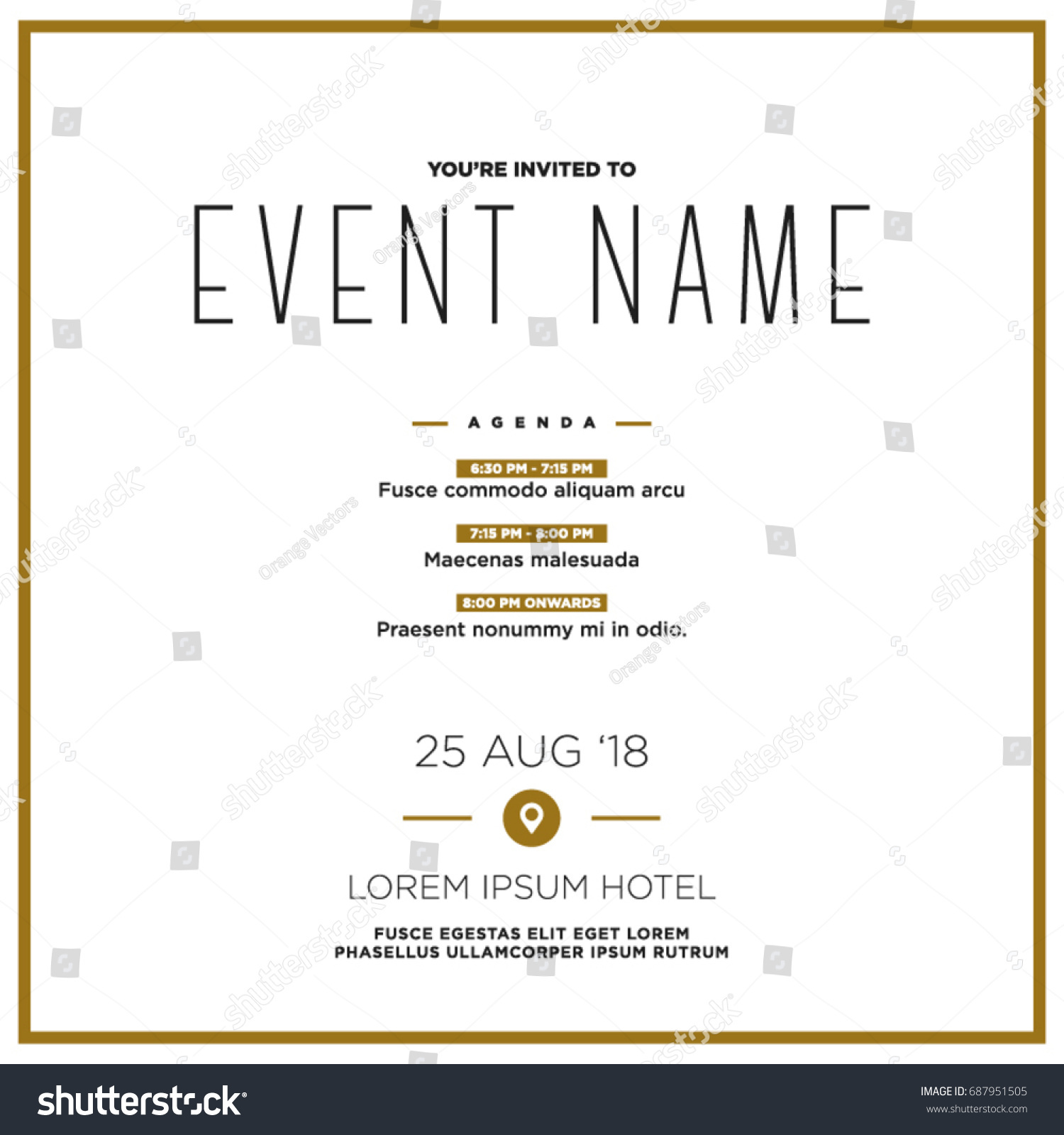 Event invitation template agenda venue date stock vector 687951505 event invitation template with agenda venue and date details pronofoot35fo Choice Image