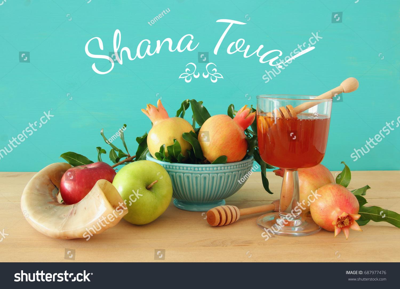 Rosh hashanah jewish new year holiday stock photo 687977476 rosh hashanah jewish new year holiday concept traditional symbols text shana tova biocorpaavc