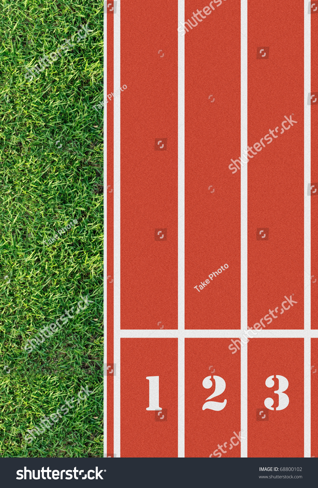 Number On Start Running Track Birds Stock Photo 68800102 ...  |Running Track Birds Eye View