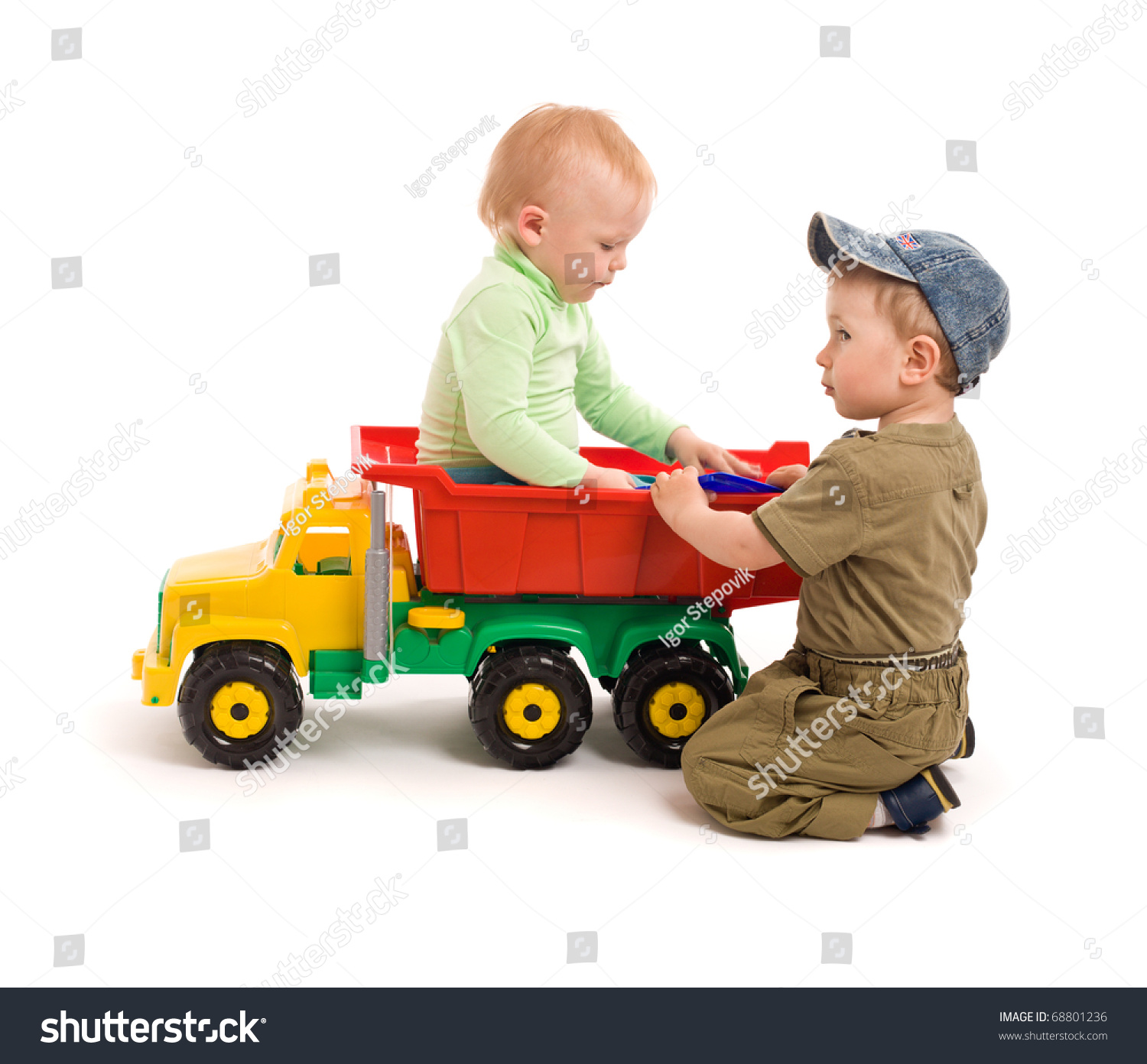 Two Little Boys Play Toy Truck Stock Shutterstock