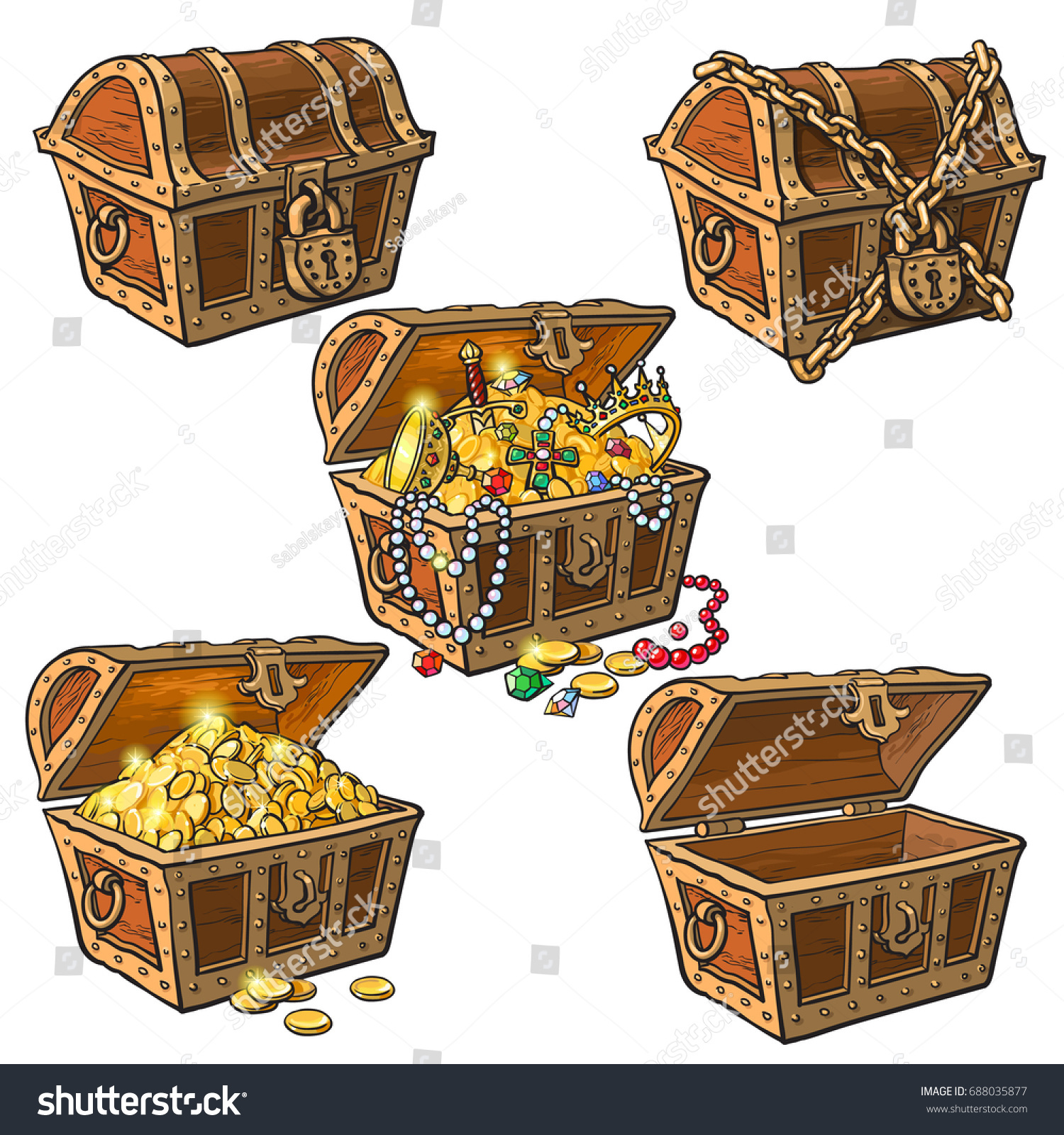 open closed pirate treasure chests locked stock vector 688035877