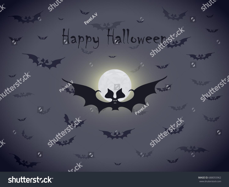 Flock Bats Against Bright Moon Dark Stock Vector Royalty Free