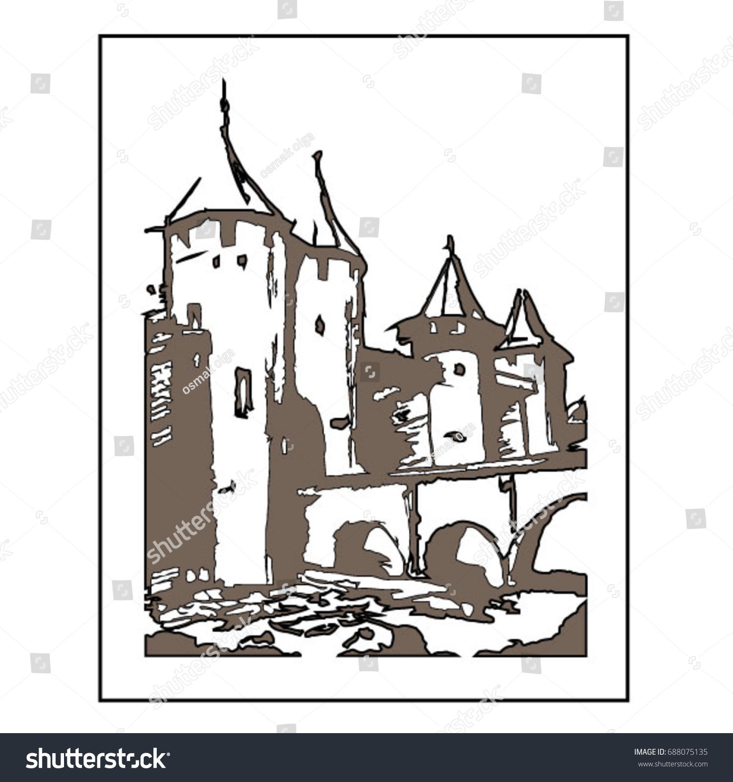 Drawing Pencil Landscape Architecture Castle Art Stock Vector