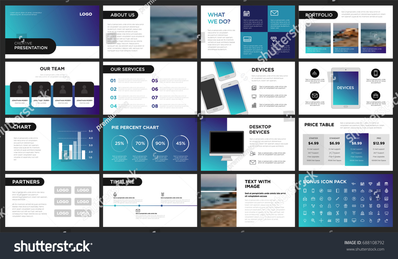 modern purple blue gradient presentation template stock vector, Presentation templates