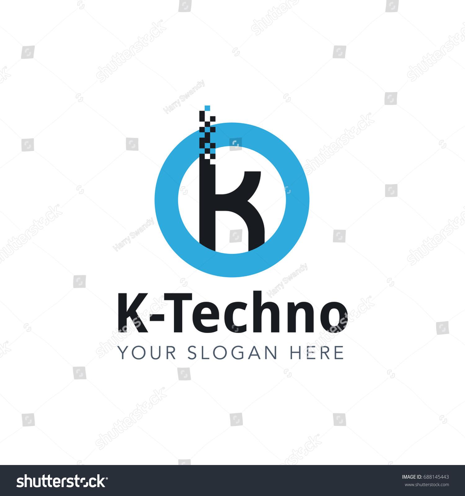 letter k pixel logo design template stock vector royalty free