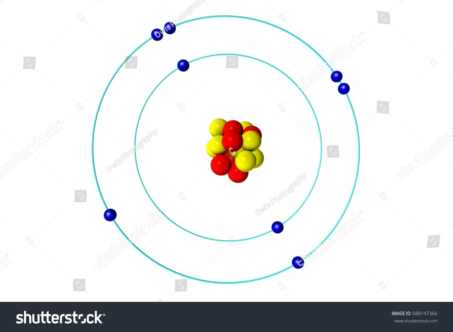 Oxygen atom proton neutron electron 3d stock illustration oxygen atom with proton neutron and electron 3d bohr model illustration pooptronica Image collections